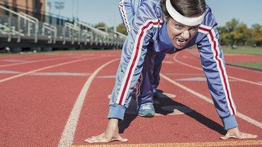 Start Sport laufen Frau aktiv stark